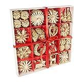 56 piezas de paja para decoración de árboles de Navidad, adornos creativos, colgante para colgar...