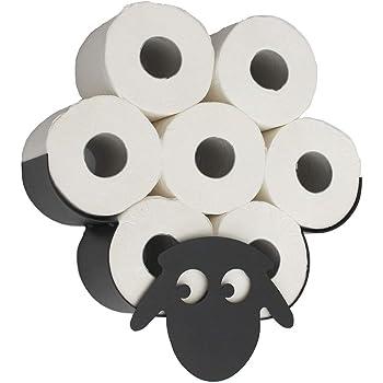 Portarotolo di carta igienica da bagno a forma di pecora pu/ò contenere fino a 7 rotoli HomeZone