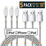 iPhone Charger Lightning Cable iPhone Cable Apple MFi Certified iPhone Charger Cable iphone 11 Xs MAX XR X 8 7 6s 6 5E Plus ipad car Charger Charging Cable Cord USB 3 3 6 6 10 ft 5pack Chargers