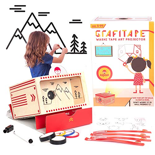 kipod Toys GrafiTape Drawing Projector for Kids to Create Wall Art - Unique Arts and Crafts Kit W/ Projector, Flashlight, 5 Washi Tape Rolls, Drawing Pad – Award-Winning Gift - Girls & Boys Ages 5-99