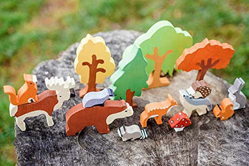Waldorf Wooden Animals Toys - Set of 15 multicolor forest animals and plant life - Handcrafted and hand painted