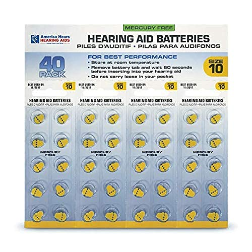 America Hears Size 10 Hearing Aid/Amplifier Batteries 40 Pack (Zinc Air Activated and Mercury Free)