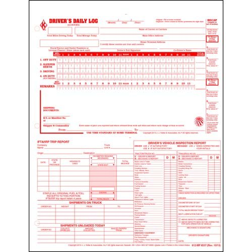 5-in-1 Driver Daily Log 3-pk. w/Detailed DVIR, Daily Recap, Shipments Records & Trip Report - Shrinkwrapped Loose-Leaf Format, 2-Ply Carbonless, 8.5