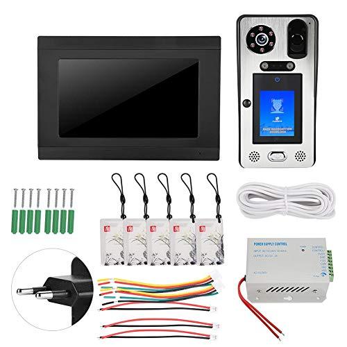【Venta del día de la Madre】 Way Audio Videoportero, Sistema de Timbre con Cable, RFID Edificios públicos Familiares a Todo Color para Sistema(European regulations)