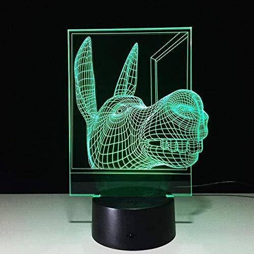 Nachtlicht Exquisite bunte exquisite bunte 3D Nachtlicht Nachtlicht LED Folie Laterne Esel Kopf Kind Paar Familie sein