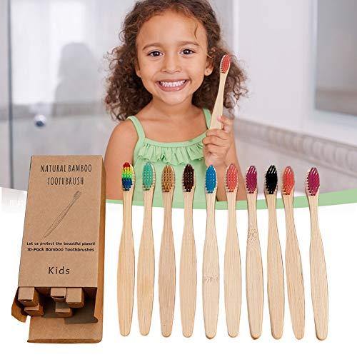 Kleine Bambus Zahnbürsten Kinder, 10er Pack umweltfreundliche Bambuszahnbürste mit Extra Weiche Borsten mit Aktivkohle für beste Sauberkeit, biologisch abbaubar Kinderzahnbürste, BPA-frei