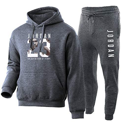 NFNF - Conjunto de chándal completo para hombre y niño, pantalón y camiseta de baloncesto Jordan, juego de 2 piezas, sudadera con capucha de deporte y jogging gris oscuro XL