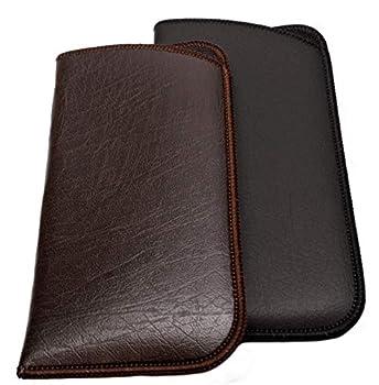 Calabria Unisex Full Slip Soft Eyeglass Case Black&Brown 2Pack  PU Leather & Felt