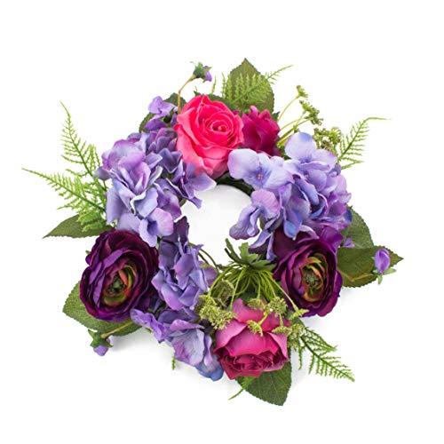 artplants.de Fausse Couronne d'hortensias Suna, renoncule, Rose, Lilas-Rose Fuchsia, Ø 30cm - Fleur Artificielle/Faux Hortensia
