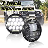 7 Inch LED Headlight 75w LED Driving Headlight Replacement Kit for Land Rover Defender 90 110 Super Bright High Low Beam & DRL H4 Socket H5024 H6017 H6024 Sealed Beam Led Truck Headlights