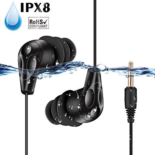 AGPTEK IPX8 wasserdichte Kopfhörer Sportkopfhörer Im-Ohr Headset Schwimmen Ohrhörer für iPhone 7, 7 Plus, 6, 6S, SE, Samsung Galaxy S8, S7, Edge S6, E11, Schwarz