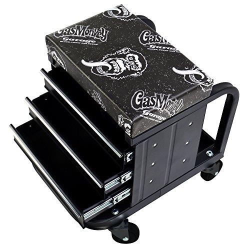 Gas Monkey Caja de Herramientas de 3 cajones con 4 Ruedas giratorias, Capacidad para 450 Libras
