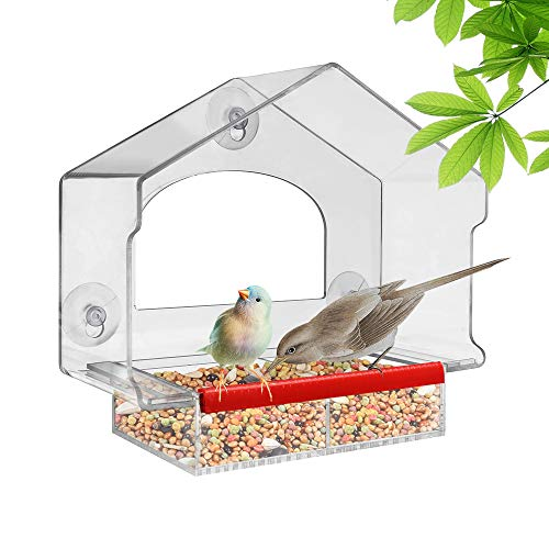 Window Bird Feeder with Strong Suction Cups and Removable Seed Tray, Outdoor Birdfeeders for Wild Birds, Finch, Cardinal, and Bluebird. Large Hanging Birdhouse Kits, Drain Holes