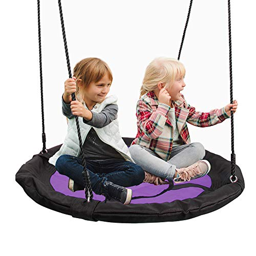 """SUPER DEAL 40"""" Waterproof Saucer Tree Swing Set - 360 Rotate° - Attaches to Trees or Existing Swing Sets - Adjustable Hanging Ropes - for Kids, Adults and Teens (Purple)"""
