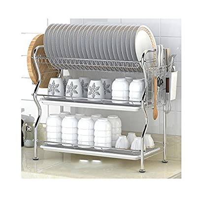 NEX 3 Tier Dish Drying Rack with Drainboard for Counter, Large by NEX