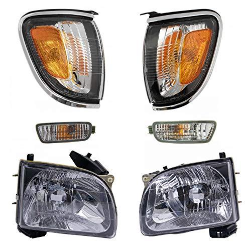 Headlights Corner Lights w/Chrome Turn Parking Signal Lights Lamps Kit Set of 6