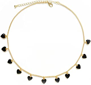 Heart Chain Necklace - Gold/Black Heart Choker Necklace for Girls,Egirl Jewelry Choker Goth Necklace for Women,Punk Layere...