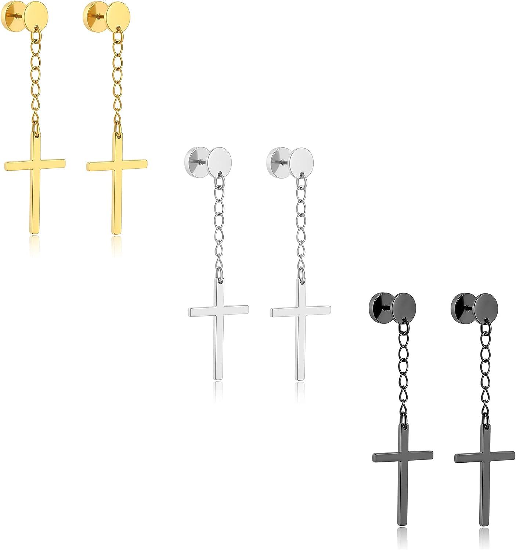 Szory Stainless Steel Dangle Cross Earrings for Men Women