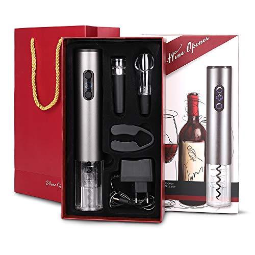 HALOVIE Cavatappi Elettrico Ricaricabile 4 Pezzi Apribottiglie Automatico con Taglierina, Versatore di Vino, Tappo per Vino Sottovuoto