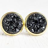 Black on Gold - Druzy Stud Earrings - Hypoallergenic