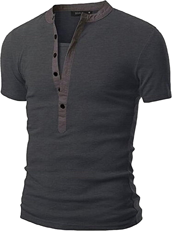 Men's Henley Tops T-Shirt Casual Slim Fit Short Sleeve T-Shirt Soft V Neck Buttons Muscle Tops Summer Tee Shirts Dark Gray