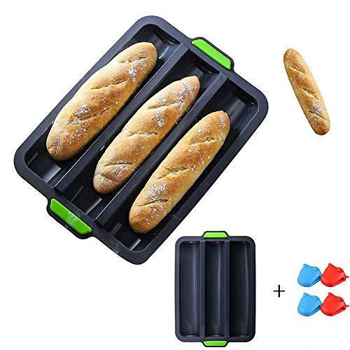 CHAWHO Silikon French Bread Backblech und 4pcs Isolierung Handschuhe Antihaft Baguette Backform Brot Backblech perfekt backt French-Bread, Breadstick (34 * 24 * 3cm) 2#
