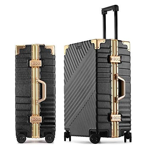 RTRD 20 inch Cabin Suitcase Wheels Travel Bag Men Business Password Trolley Fashion Aluminum Frame Rolling Luggage Spinner,Black,20'