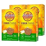Metamucil Fiber Thins, Apple Crisp, 4 Boxes of 12 Servings, Dietary Fiber Supplement Snack with Psyllium Husk