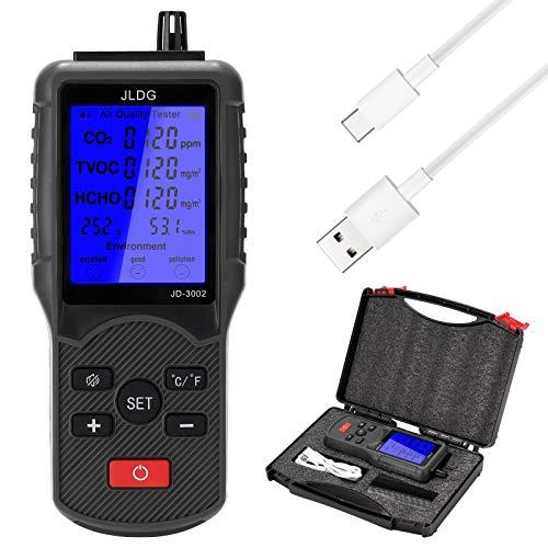 HUANGCHAO Multifunktions-Luft-QualitäTstest Co2 Tvoc TemperaturmessgeräT Feuchtigkeitsmessung MessgeräT Kohlendioxid Monitor Mit LCD Bildschirm