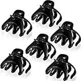 6 Pieces No-Slip Octopus Hair Clips 6 cm Grip Octopus Claw Clip Hairpins for Thick Hair, Black