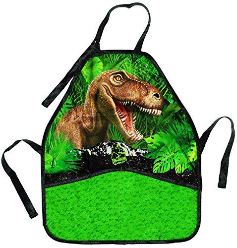 alles-meine.de GmbH Kinderschürze -  Dinosaurier / T-Rex  - größenverstellbar mit 2 Taschen - Schürze / beschichtet & wasserfest - für Jungen - Kinder - Backschürze / Bastelsch..