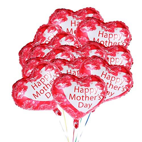 PRETYZOOM 11 Piezas Feliz Día de Las Madres Globos Amor Corazón Papel Mylar Globos 18 Pulgadas Letras Imprimir Globos Día de La Madre Suministros Fiesta Mamá Cumpleaños Fiesta Decoraciones Blanco