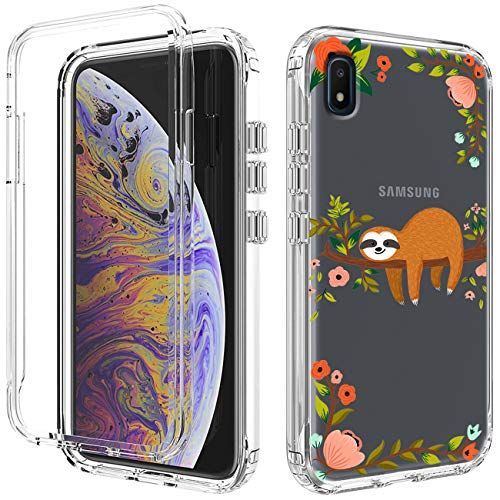 Phone Case for Samsung Galaxy A10E Clear Slim Shockproof High Impact Hard PC Bumper & Soft Silicone TPU 2in1 Protective Phone Cover Case for Samsung Galaxy A10E - Cute Sloth