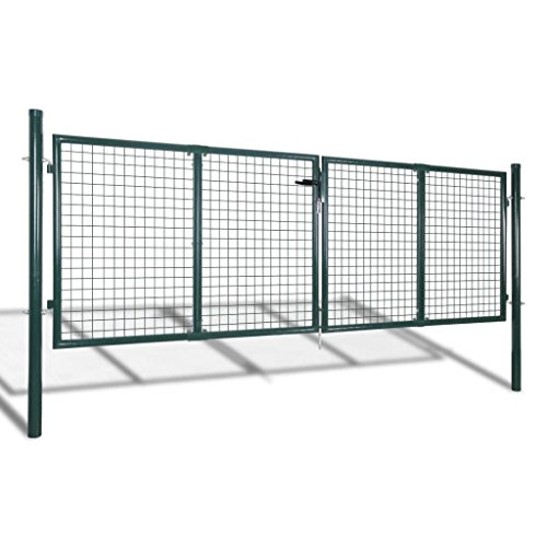 Tidyard Acero Verja Mallada Puerta Barrera Exterior Cercas para Jardín Puerta de Valla de Acero Verde 306x150 cm