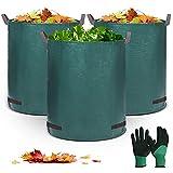 EIVOTOR Gartenabfallsäcke 3 x 320 L, Gartensack Grünabfall Groß Grünschnitt Behälter aus 150g/m² Polypropylen-Gewebe Grünschnittsäcke Laubsack mit Gartenhandschuhe für Gartenabfälle Laub Pflanzen