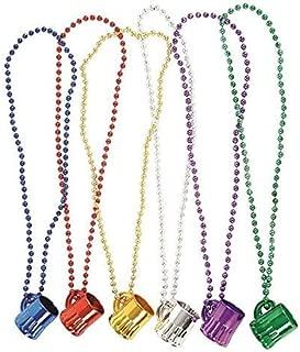 Bulk 24 Mardi Gras 33 Inch Metallic Beer Mug Beads By 4E's Novelty