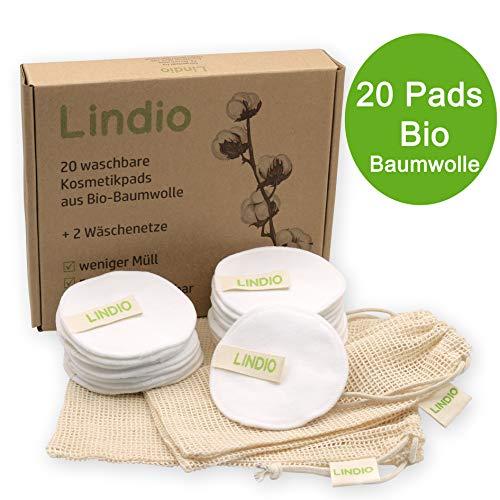 Lindio [20x] waschbare Abschminkpads aus BIO Baumwolle, 2 Wäschenetze, Gesichtsreinigung, Zero Waste