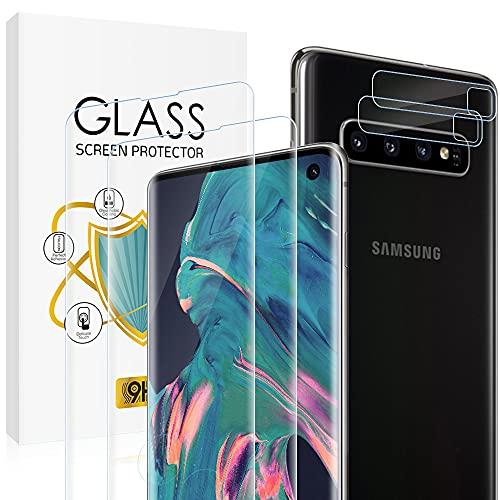 wsky Panzerglas Schutzfolie für Samsung Galaxy S10 Plus, 2 Stück Panzerglasfolie + 2 Stück Kamera Folie, Glas 9H Härte, Hohe Definition, Fingerabdrucksensor, Hohe Empfindlichkeit Displayschutzfolie