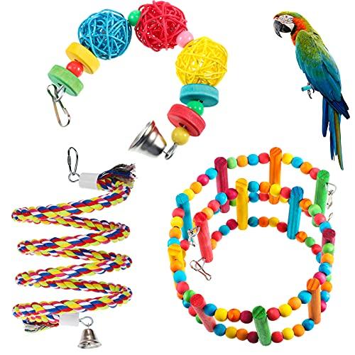 3 Juguetes de Loros Incluye Juguete de Columpio de Eescaleras de Pájaro Cuerda Espiral de Pájaro Perca Bolas de Mimbre de Campana Colgante para Periquitos Pequeños Cacatúas Agapornis Conures