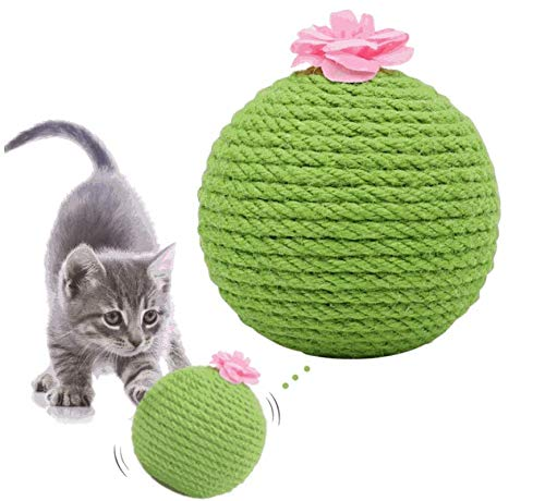 Yicare Cat Toy Self-hi Funny Cat Sisal Ball Catnip Tumbler Resistant to Scratching Sisal Cactus Claw Ball