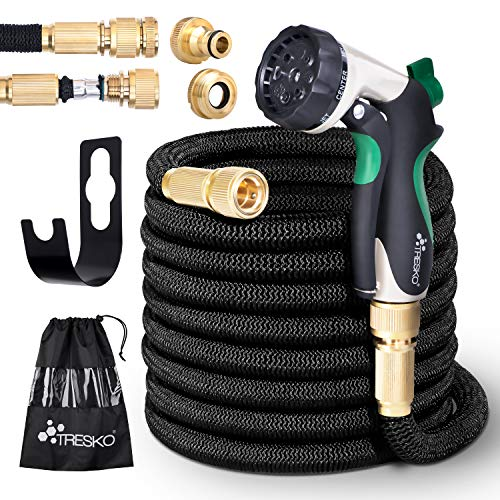 TRESKO Expandable Garden Water Hose Pipe- 8-Pattern Spray Gun Anti-leakage with Brass Fittings, Triple Latex Core & Hose Hook/Hanger, Magic-hose pipes (25FT)