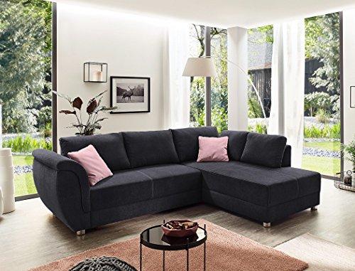 expendio Wohnlandschaft Tapio 256x196 cm schwarz Schlafsofa Eckcouch Couch Sofa Polsterecke Bettkasten Wohnzimmer