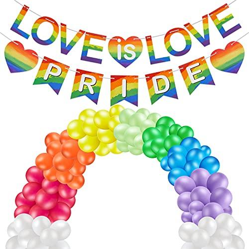 2 Banderas de Pride de Amor de Arcoíris Bandera de Love is Love de Arcoíris y Kit de Arco de Guirnalda de 24 Piezas Globos de Arcoíris Set de Globos de Fiesta de Arcoíris Decorativa
