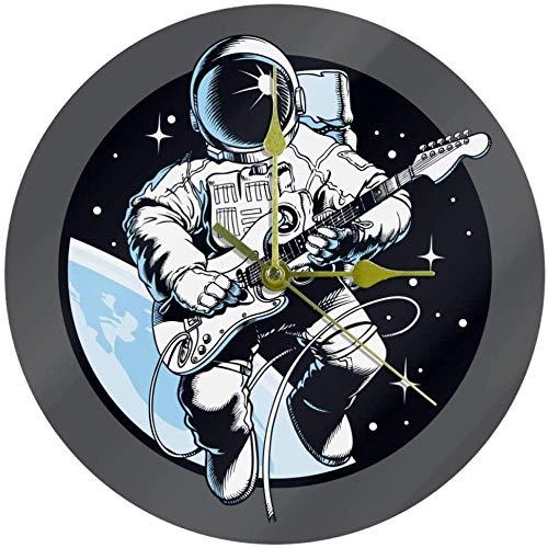 LKLFC Große Wanduhr Küchenuhr Wohnzimmer Schlafzimmer Büro Badezimmer Wanduhr Kinderuhr Mond Astronaut spielt Gitarre Batteriebetriebene Nicht tickende ruhige Uhr 25cm