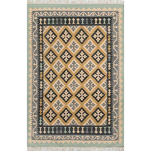 Nolita Rugs Kensington Hand Woven Wool Gold Area Rug 2' X 3'