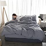 Lili Washed Cotton Bedding Set Solid Duvet Cover Set Soft Grey Bedclothes Japanese Style Home Bed Super King Size Bed linens Bed Set,Sky Grey,220 by 240cm 4pcs