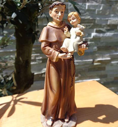 ÖLBAUM 43-45 cm Heiligenfigur Heiliger Antonius von Padua, mit Kind/Jesuskind und Buch/Bibel zur Verkündigung des Evangeliums, hilft verlorene Dinge Wieder zu Finden, Aber auch für Singles di