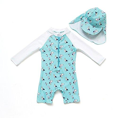 BONVERANO Baby Junge EIN stück Langärmelige-Kleidung UV-Schutz 50+ Badeanzug MIT Einem Reißverschluss(Grüne-Tihu,18-24M)