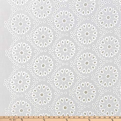 Fabric Merchants Deadstock Floral Eyelet White Fabric by the Yard