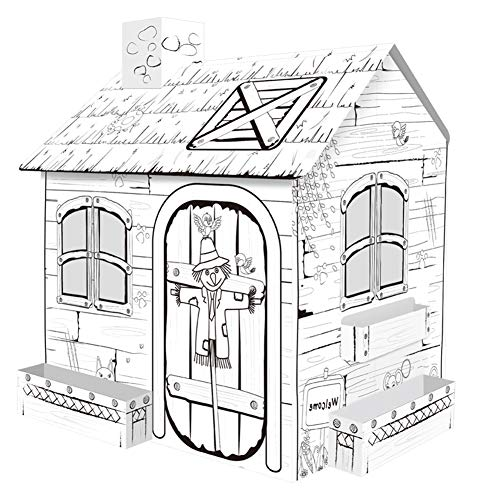 STKASE Mini Rural House Cardboard Playhouse Cardboard Playhouse for Kids to Color with Markers Outdoor Indoor DIY Painting Gift for Children